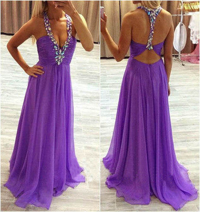 purple prom dress,chiffon prom dresses,long prom dresses,prom dresses 2016,backless prom dresses,BD099