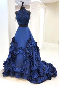 two pieces navy blue long beaded prom dress charming ball gown, HB2082