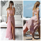 off shoulder pink two pieces short sleeves long prom dress,HB159