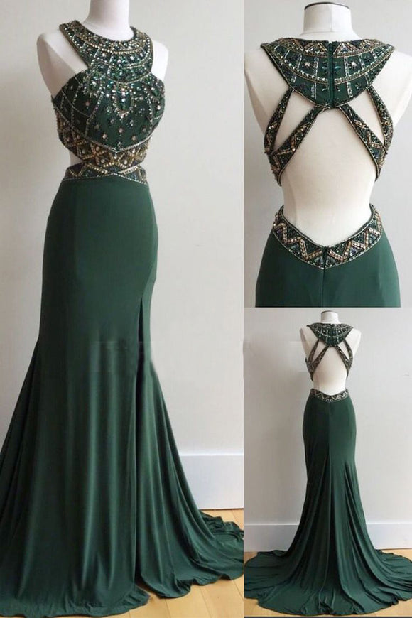 dark green open back mermaid beaded long Prom Dress,BD08556