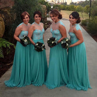 blue bridesmaid dress,long bridesmaid dress,o neck bridesmaid dress,2016 bridesmaid dress,BD1614  alt=