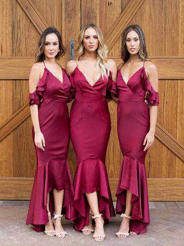 burgundy bridesmaid dress,hi-lo bridesmaid dress,off shoulder bridesmaid dress,chic bridesmaid dress,BD1642