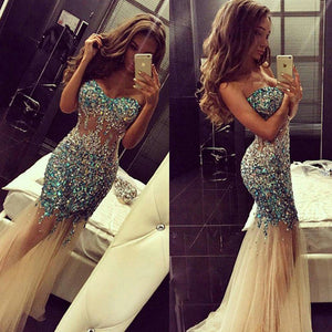 Charming Prom Dress,Mermaid prom dress,Rhinestones prom dress,Long prom dress,evening dress,BD383