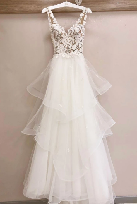 white long prom dress simple elegant wedding dress, HB2089