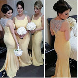 yellow bridesmaid dress,long bridesmaid dress,mermaid bridesmaid dress,2016 bridesmaid dress,BD1615