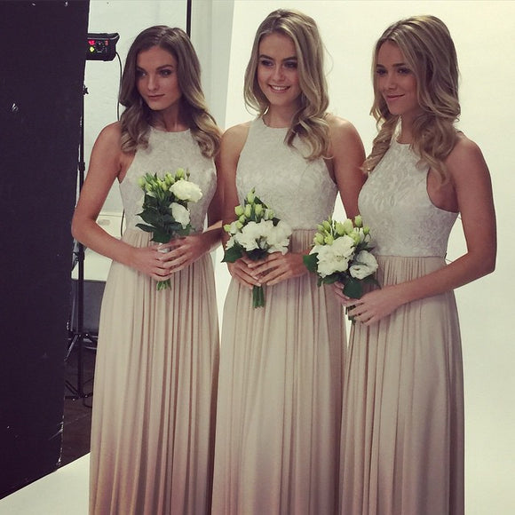 lace top bridesmaid dress,long bridesmaid dress,o neck bridesmaid dress,2016 bridesmaid dress,BD1624
