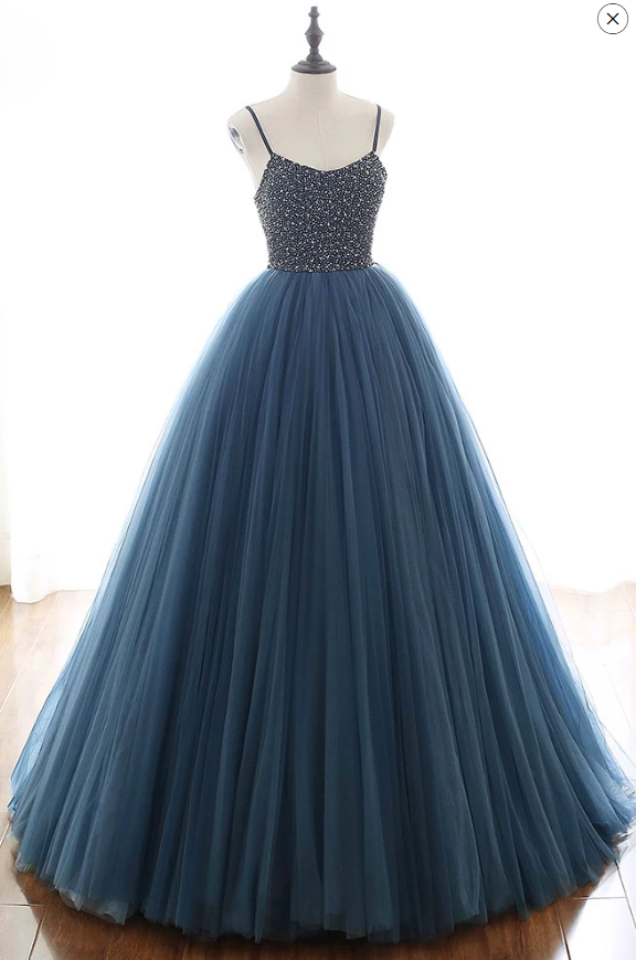 spaghetti straps navy beaded tulle long prom dress, HB206