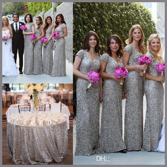 sliver sequin bridesmaid dress,long bridesmaid dress,short sleeves bridesmaid dress,sparkle bridesmaid dress,BD1627