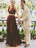two pieces v-neck burgundy long prom dress,HB172