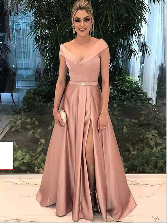 dusty pink prom dress, long prom dress, formal prom dress, side slit prom dress, BD5684