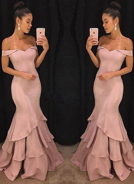 off shoulder formal mermaid dusty pink long evening dress,HB180