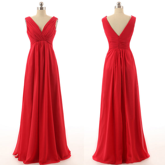 red bridesmaid dress,long bridesmaid dress,cheap bridesmaid dress,v-neck bridesmaid dress,BD1258