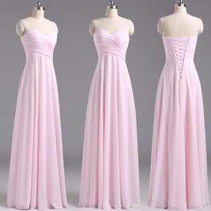 long bridesmaid Dress, pink bridesmaid Dress, chiffon bridesmaid Dress, cheap bridesmaid Dress, BD1644