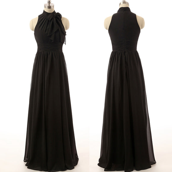 black bridesmaid dress,long bridesmaid dress,cheap bridesmaid dress,chiffon bridesmaid dress,BD1574