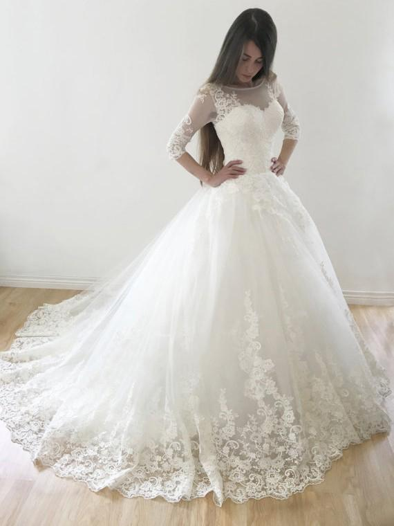 Ball Gown Wedding Dresses Scoop Sweep Train Lace Tulle Prom Dresses,ED20010