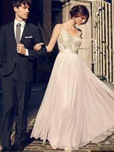 A-line Floor-length Appliques Long Prom Dresses,ED210015