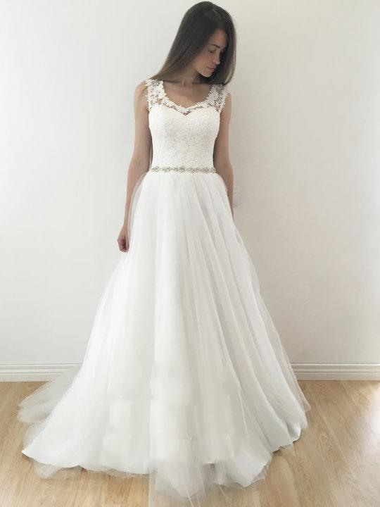 Wedding Dresses A Line Rhinestone Lace Long Prom Dressesed21004