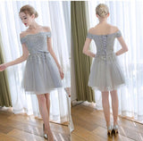 Cute Homecoming Dress Off-the-shoulder A-line Lace-up Tulle Short Prom Dresses,ED21005