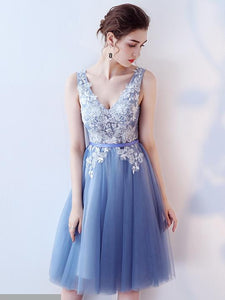A-line V-neck Appliques Lace Short Prom Dresses,Homecoming Dresses,ED21007