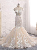 Backless Trumpet Mermaid Scoop Lace Long Sexy prom dresses,Wedding Dresses ,ED210017