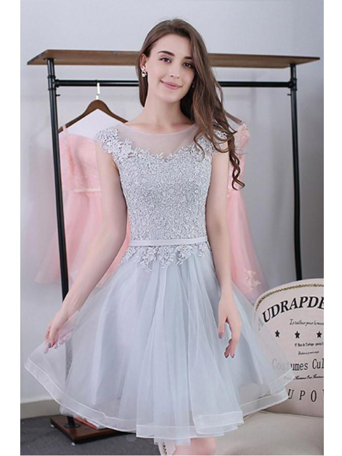 c4e04451163 Scoop A-line Lace-up Tulle Short Prom Dresses