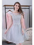 Scoop A-line Lace-up Tulle Short Prom Dresses ,Cute Homecoming Dresses,ED210019