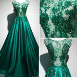 Scoop Brush Train Hunter Green Beading Lace Prom Dresses,ED210020