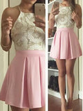 Homecoming Dress Halter A-line Lace Pink Short Prom Dresses,ED21006