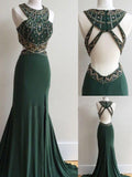 Dark Green Prom Dresses Column Scoop Rhinestone Long Prom Dresses,ED250001