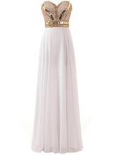 Chic Prom Dresses A-line Sweetheart Floor-length White Chiffon Cheap Prom Dress es,ED250008