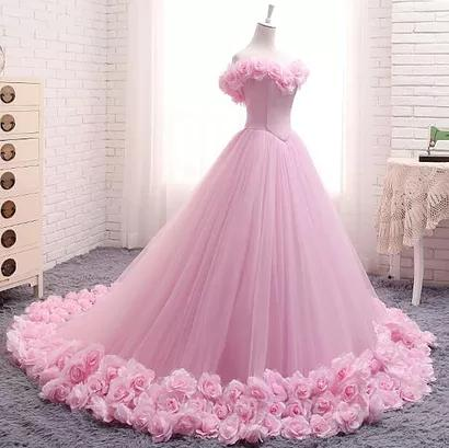 Ball Gown Wedding Dresses Off-the-shoulder Hand-Made Flower Pink Bridal Gowns,ED250012