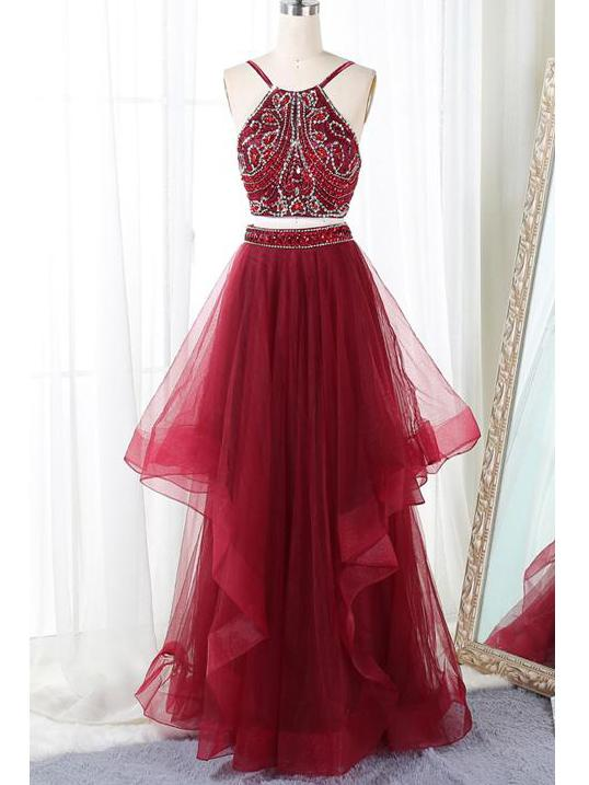 Two Piece Prom Dresses Spaghetti Straps Floor-length Long Prom Dresses,ED250013