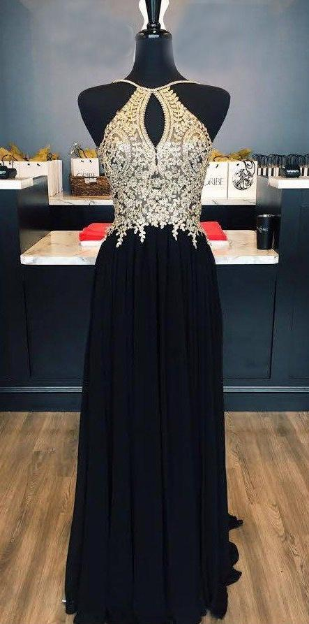 Black Prom Dresses Halter A-line Floor-length Chic Prom Dresses,ED250014