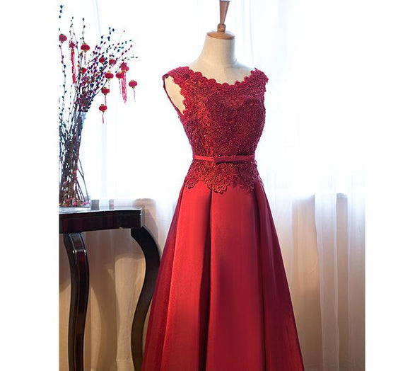 Burgundy Prom Dresses Scoop A-line Floor-length Lace-up Satin Lace Prom Dresses,ED250015