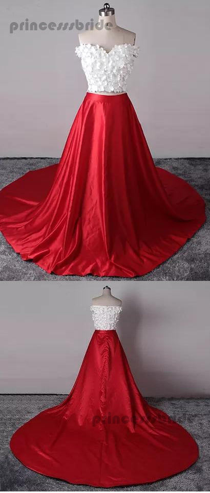 09d2fe763ba9 ... Two Piece Prom Dresses Sexy Red White Off-the-shoulder Long Prom Dresses