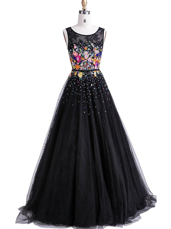 Black Prom Dresses Sexy Scoop Floor-length Hand-Made Flower Long Prom Dresses,ED250019