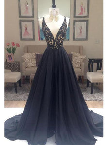Black Prom Dresses V-neck Sweep/Brush Train Taffeta Long Prom Dresses,ED250020