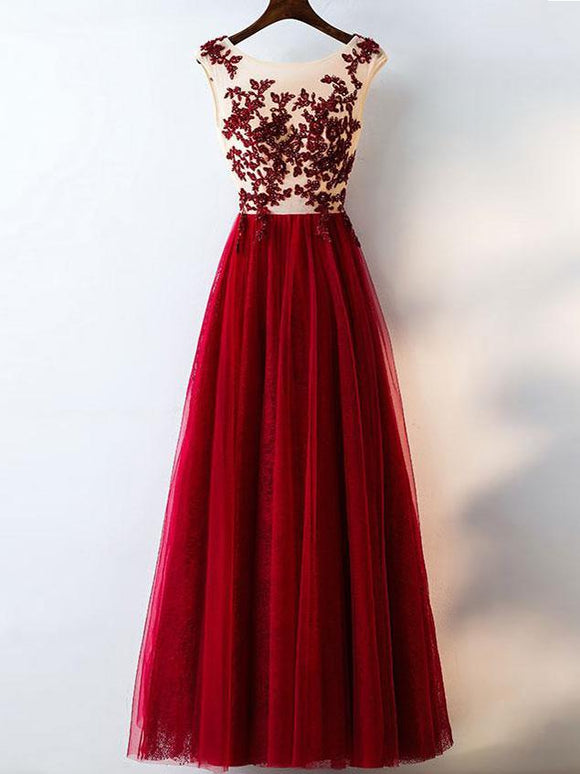 Chic Burgundy Prom Dresses Rhinestone Scoop Floor-length Lace Prom Dresses,ED250023
