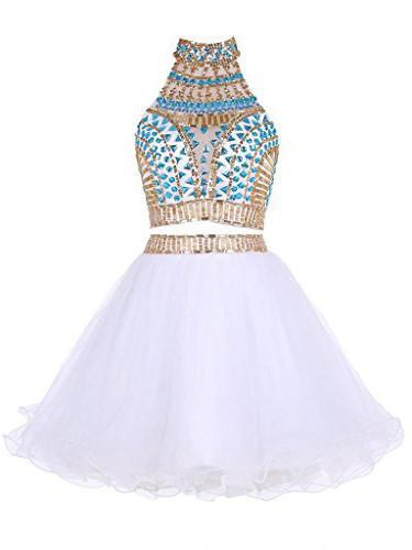 Two Piece Homecoming Dress High Neck A-line Rhinestone White Short ...