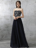 Simple Prom Dresses Sweetheart Floor-length Dark Navy Chiffon Sexy Prom Dresses,ED250037