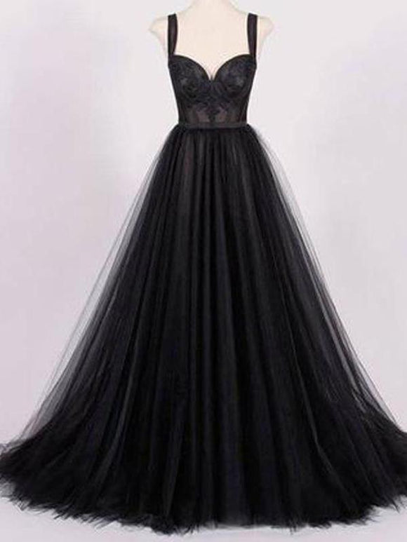 Black Prom Dresses Straps A line Sweep Train Appliques Long Sexy Prom Dresses,ED250040