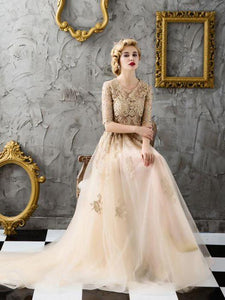 Two Piece Prom Dresses Scoop Appliques Brush Train Tulle Prom Dresses,ED250041