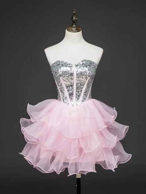 Chic Homecoming Dress Sweetheart Ball Gown Sequins Pink Short Prom Dresses,ED250042