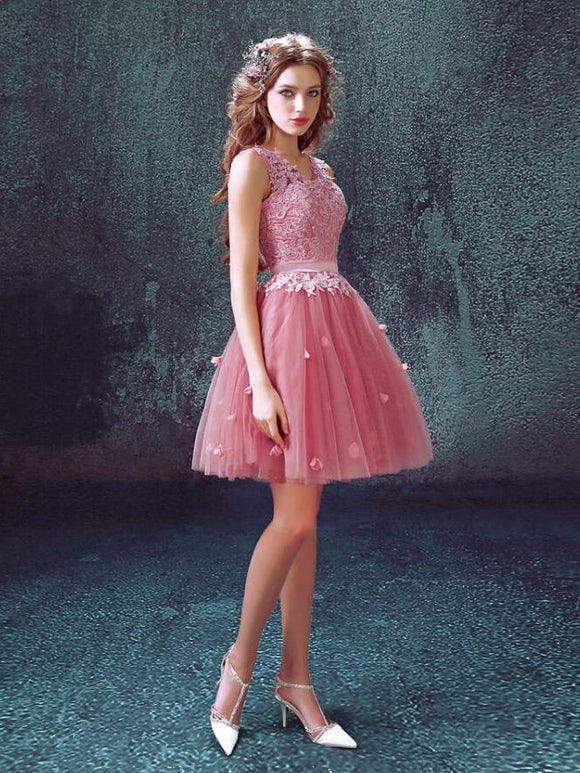 Sexy Homecoming Dress A-line V-neck Lace Tulle Short Prom Dresses,ED250043