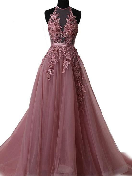 Sexy Prom Dresses Halter Appliques Lace-up Long Prom Dresses,ED250044