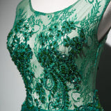 Long Prom Dresses Scoop Brush Train Hunter Green Beading Lace Prom Dresses,ED250047