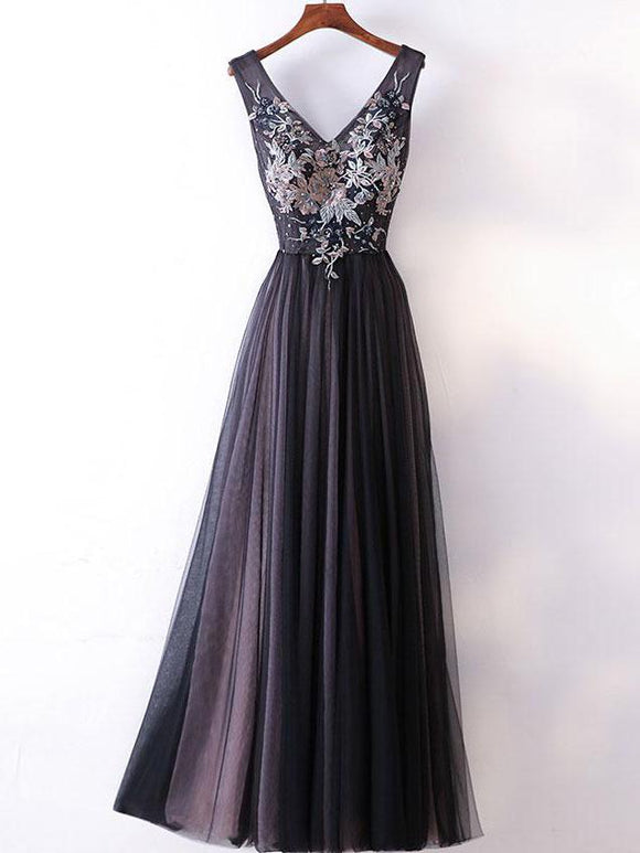 Long Prom Dresses Straps V-neck A-line Embroidery Sexy Black Prom Dresses,ED250048