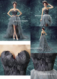 High Low Prom Dresses Sweetheart A-line Gray Plume Lace-up Sexy Prom Dresses,ED250049