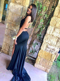 Black Prom Dresses High Neck Lace Slit Long Prom Dresses,ED250050