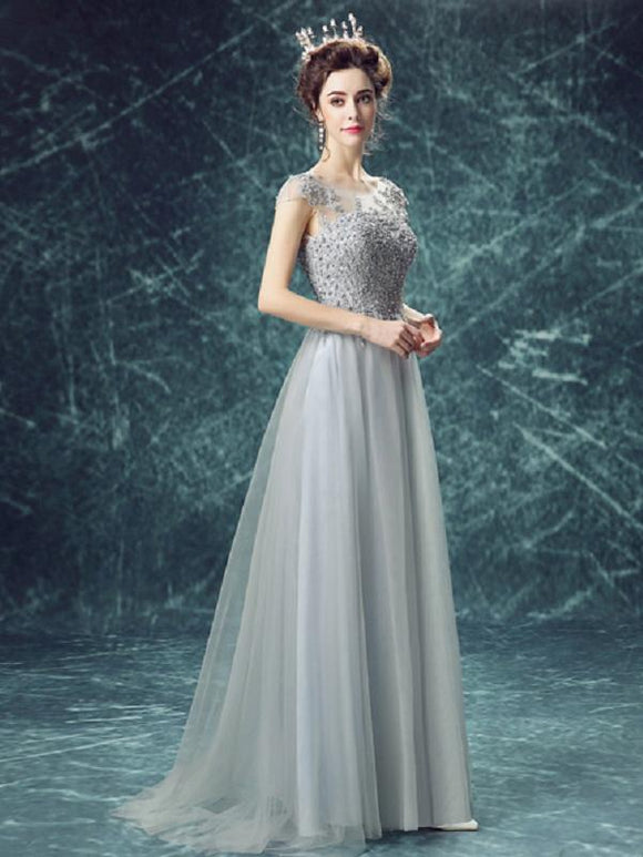 Long Prom Dresses Scoop Floor-length Appliques Beading Tulle Prom Dresses,ED250051